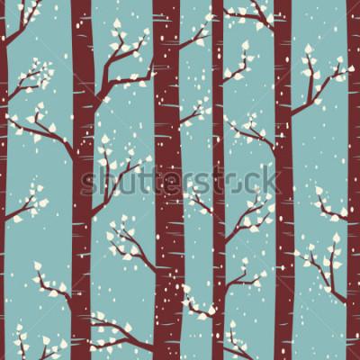 Sticker Nahtloses Fliesenmuster mit Birken unter den Schneefällen.