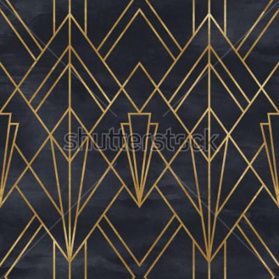 Sticker Nahtloses geometrisches Muster auf Papierbeschaffenheit. Art Deco Hintergrund
