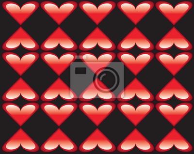 Nahtloses geometrisches Muster mit stilisierten Herzen. Wiederholte Vintage-Textur. Abstrakter roter und schwarzer Hintergrund. Helle Retro-Kulisse. Vektor-Illustration.