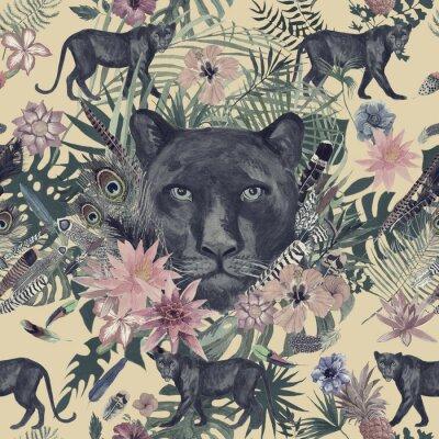 Sticker Nahtloses handgezeichnetes Aquarellmuster mit Panther, Blumen, Federn, Blumen.