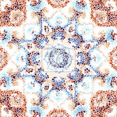 Sticker Nahtloses Hintergrundmuster. Unregelmäßiges dekoratives geometrisches Mosaikkunstfliesenmuster von den ungleichen gebrochenen Stücken.
