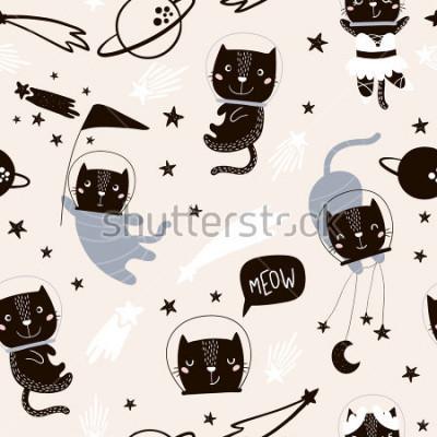 Sticker Nahtloses kindisches Muster mit netten Katzenastronauten. Kreativer Kindertagesstättenhintergrund. Vervollkommnen Sie für Kinder Design, Gewebe, die Verpackung, Tapete, Gewebe, Kleid