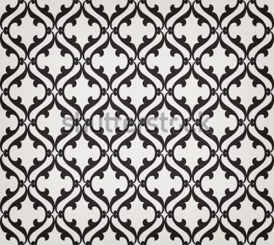 Sticker Nahtloses mit Blumenmuster der Weinlese abstraktes. Geschwungene elegante stilisierte Blätter und Rollen schneiden, die abstrakte Blumenverzierung im arabischen Stil bilden. Arabeske. Dekoratives Gitt