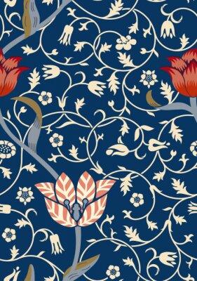 Sticker Nahtloses mit Blumenmuster der Weinlese auf dunklem Hintergrund. Vektor-Illustration.