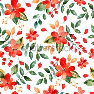 Sticker Nahtloses mit Blumenmuster des Aquarells mit roten Blumen und Blättern Bunte Blumenillustration Handgemachtes Design des Herbstes oder des Sommers für Einladungs-, Hochzeits- oder Grußkarten, kann für