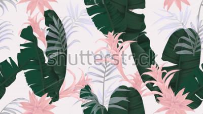 Sticker Nahtloses mit Blumenmuster, grüne Bananenblätter, rosa Bromeliaceaeanlage und Palmblätter auf hellgrauem Hintergrund, Pastellweinlesethema