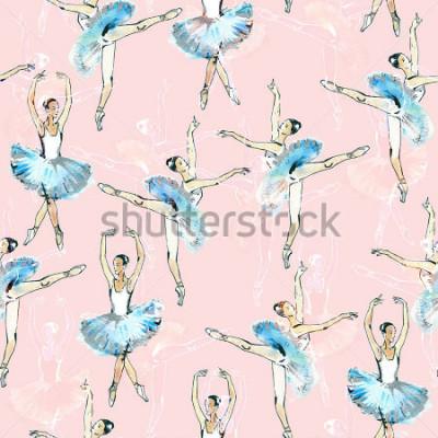 Sticker Nahtloses Muster der Balletttänzer-, Schwarz-, Weiß- und Silberzeichnung, Aquarellmalerei, lokalisiert auf rosa Hintergrund.