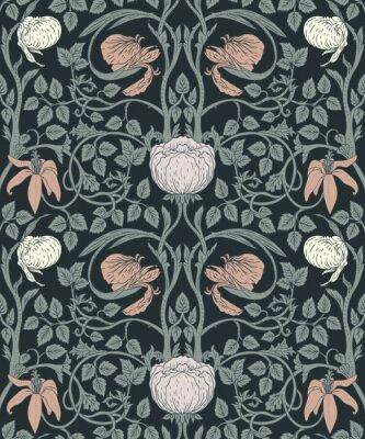 Sticker Nahtloses Muster der Blumenweinlese für Retro- Tapeten. Verzauberte Vintage Blumen. Kunst und Handwerk Bewegung inspiriert.