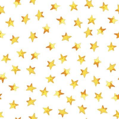 Sticker Nahtloses Muster der Hand gelbe einfache Sterne im kindischen Zauntritt der Karikatur auf weißem Hintergrund zeichnend