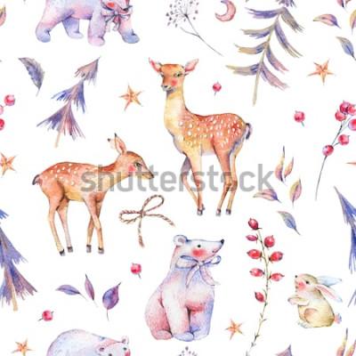 Sticker Nahtloses Muster der Winteraquarellweinlese mit netten Eisbären, Rotwild, Kitz, Hasen und magischem Wald auf weißem Hintergrund, Weihnachtsdekoration, Karikaturfeiertagsillustration