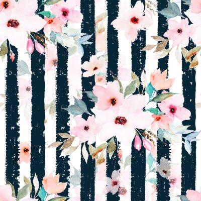 Nahtloses Muster des Aquarells auf gestreiftem Hintergrund. Blumenmuster