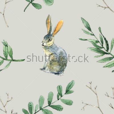 Sticker Nahtloses Muster des Aquarells mit Kaninchen, Blättern und Niederlassungen ist für Geschenkverpackung, Kästenentwurf, Standort und Grußkartenhintergrund und usw. gut.