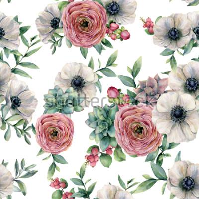 Sticker Nahtloses Muster des Aquarells mit Succulent, Ranunculus, Anemone. Handgemalte Blumen, Eukaliptusblätter und saftige Niederlassung lokalisiert auf weißem Hintergrund. Illustration für Design, Druck od