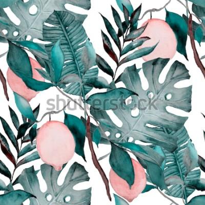 Sticker Nahtloses Muster des Aquarells mit tropischen Blättern und Zitrusfrüchten. Mode botanischen Druck.