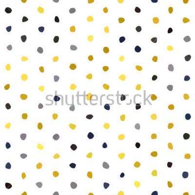 Sticker Nahtloses Muster des gelben grauen Marineblau-Senf-Tupfens auf weißem Hintergrund. Runde Polygonsteinbeschaffenheit. Abstrakter Vektor für Drucke, Gewebe, Verpackung, Stoff, Paket, Abdeckung, Grußkart