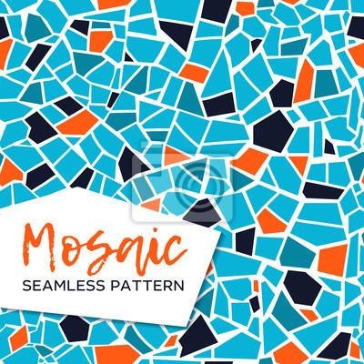 Sticker Nahtloses Muster des hellen abstrakten Mosaiks. Vektor Hintergrund. Endlose Textur. Keramische Fliesenfragmente.