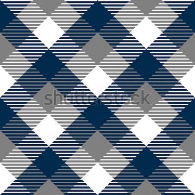 Sticker Nahtloses Muster des karierten Ginghamgewebes im blauen Grau und im Weiß, Vektor