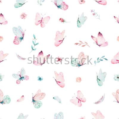 Sticker Nahtloses Muster des netten Aquarelleinhorns mit Blumen. Kindergarten magische Einhorn-Muster. Prinzessin Regenbogen Textur. Modisches rosa Karikaturponypferd.