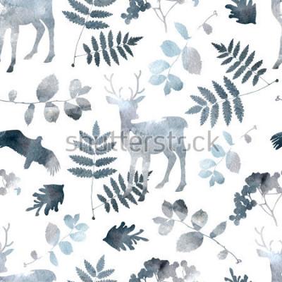 Sticker Nahtloses Muster des Nordwaldes mit Rotwild, Vögel, Blattelemente. Aquarell von Hand gezeichnet
