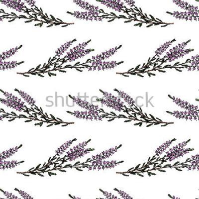 Sticker Nahtloses Muster des Vektors mit Hand gezeichneten Heide verzweigt sich. Wunderschöne florale Designelemente, ideal für Drucke und Muster.