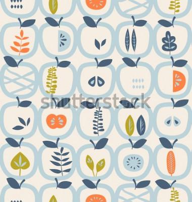 Sticker nahtloses Muster mit Äpfeln und Blättern