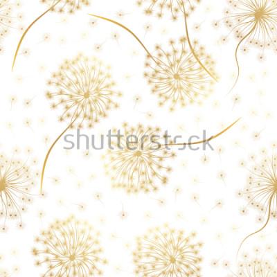 Sticker Nahtloses Muster mit Blumen Löwenzahn. Vektor-illustration