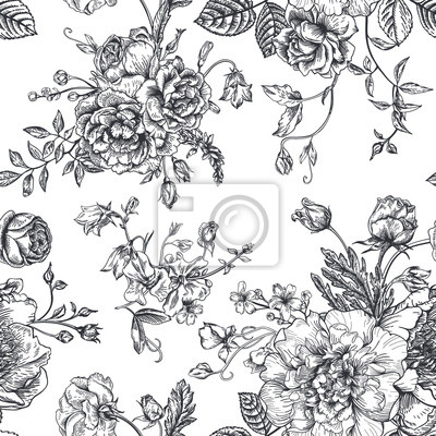 Sticker Nahtloses Muster mit Blumenstrauß.