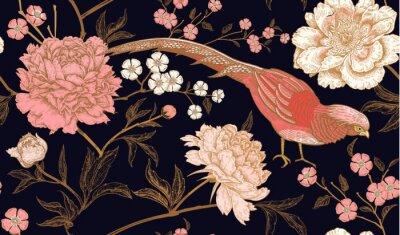 Sticker Nahtloses Muster mit exotischen Vogelfasanen und Pfingstrosenblumen.
