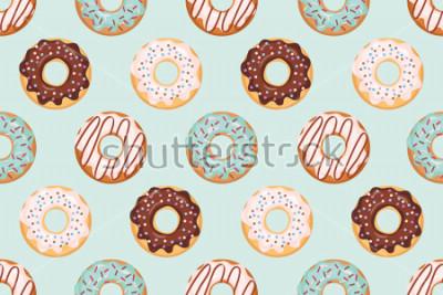 Sticker Nahtloses Muster mit glasierten Donuts. Blaue und Schokoladenfarben. Mädchenhaft. Für Print und Web.