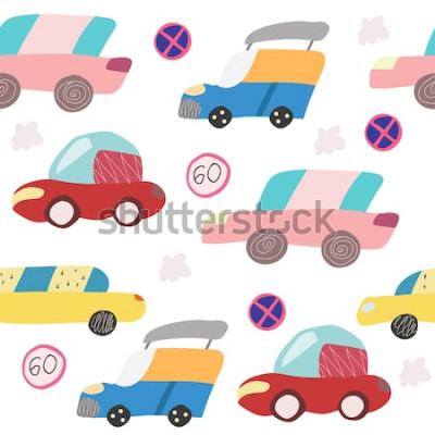 Sticker Nahtloses Muster mit Hand gezeichnetem Auto auf der Straße. Skandinavischer Stil für Kinder. Cartoon-Abbildung