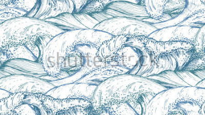 Sticker Nahtloses Muster mit Hand gezeichneten Meereswellen in der Skizzenart. Vektor endlosen Hintergrund in blauen Farben.