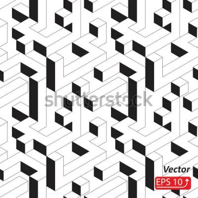 Sticker Nahtloses Muster mit Häusern, Gebäuden, Stadt, Stadt in der isometrischen Art. Schwarzweiss-Hintergrund-Vektorillustration der Zusammenfassung 3D