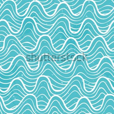 Sticker Nahtloses Muster mit Meereswogen in einer dekorativen Art. Vektor-illustration