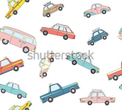 Sticker Nahtloses Muster mit nette Retro- Hand gezeichneten Autos