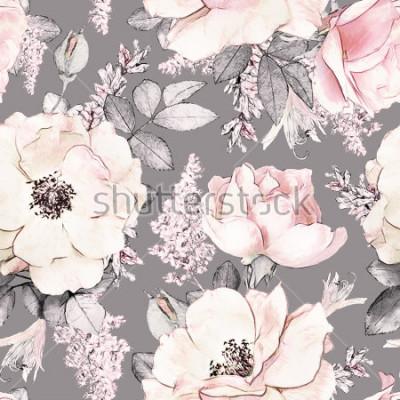 Sticker Nahtloses Muster mit rosa Blumen und Blättern auf grauem Hintergrund, Aquarellblumenmuster, Blume stieg in Pastellfarbe, tileable für Tapete, Karte oder Gewebe