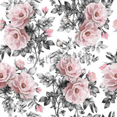 Sticker Nahtloses Muster mit rosa Blumen und Blättern auf weißem Hintergrund, Aquarellblumenmuster, Blume stieg in Pastellfarbe, nahtloses Blumenmuster für Tapete, Karte oder Gewebe