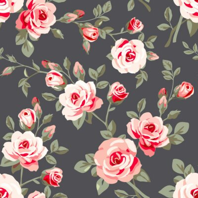 Sticker Nahtloses Muster mit rosa Rosen