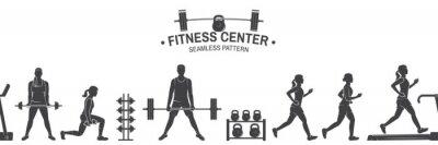 Sticker Nahtloses Muster oder Hintergrund des Fitness-Clubs. Vektor-Illustration.