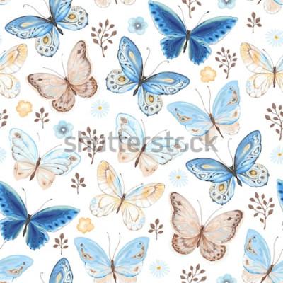 Sticker Nahtloses Muster von Fliegenschmetterlingen blau, gelb und braun gefärbt. Vektorillustration in der Weinleseart auf weißem Hintergrund.