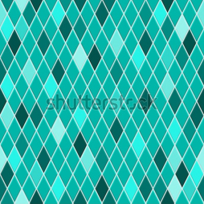 Sticker Nahtloses Muster von kleinen Rauten in den Türkisfarben mit etwas farbiger Raute