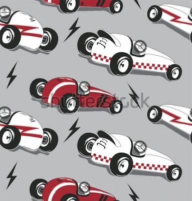 Sticker Nahtloses Muster, Weinleserennwagentypographie-T-Shirt Grafik lokalisiert auf grauem Hintergrundillustrationsvektor.