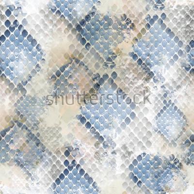 Sticker Nahtloses Muster wildes Design. Schlangenhauthintergrund mit Aquarelleffekt. Textildruck für Bettwäsche, Jacken, Verpackungsdesign, Stoff- und Modekonzepte