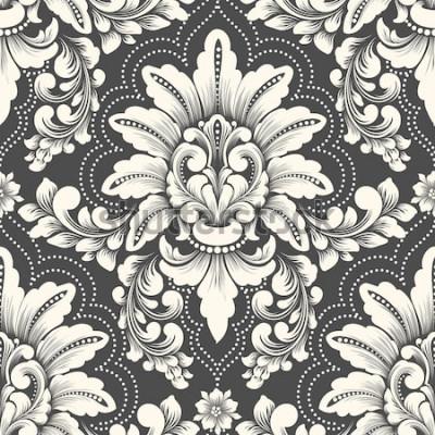 Sticker Nahtloses Musterelement des Vektordamastes. Klassische altmodische Luxusdamastverzierung, nahtlose Beschaffenheit des königlichen Victorians für Tapeten, Gewebe, wickelnd ein. Exquisite florale Barock