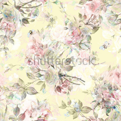 Sticker Nahtloses rosafarbenes Muster und Hummel RY