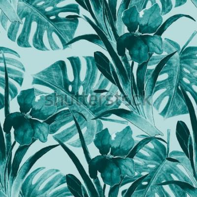 Sticker Nahtloses tropisches Muster mit Irisblumen und exotischen Blättern. Aquarell. Hand malen.