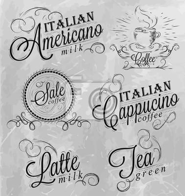 Namen von Kaffee-Getränke Kreide