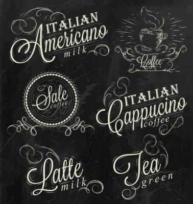 Namen von Kaffee-Getränke Kreide dunkel