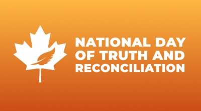 Sticker national day of truth and reconciliation modern creative banner, design concept, social media post with white text on an orange background