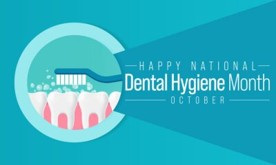 Sticker National Dental Hygiene month is observed every year in October, to celebrate the work dental hygienists do, and help raise awareness on the importance of good oral health. Vector illustration