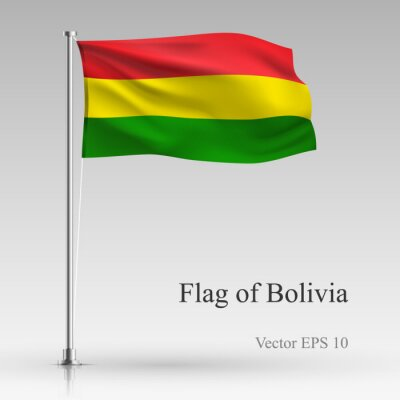 National flag of Bolivia isolated on gray background. Realistic Bolivia flag waving in the Wind. Wavy flag of Bolivia Vector illustration.